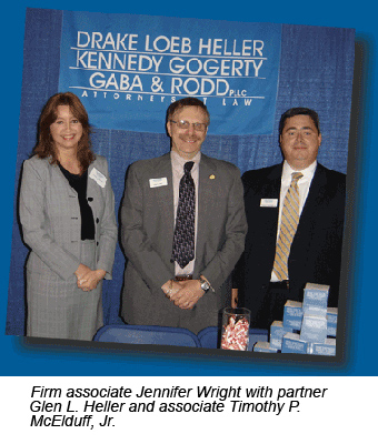 Firm associate Jennifer Wright with partner Glen L. Heller and associate Timothy P. McElduff, Jr.
